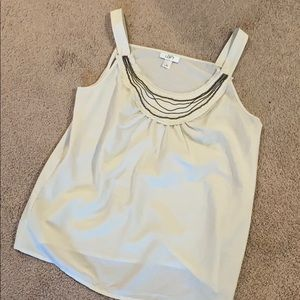 Loft Cream tank top with chain and bead details